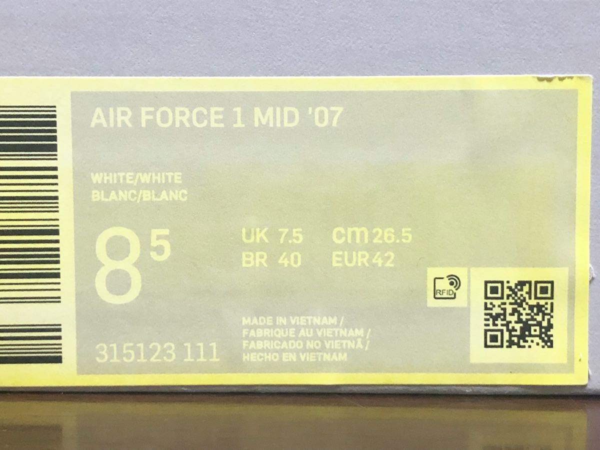 19年製 NIKE AIR FORCE 1 MID '07 ナイキ エアフォース ミッド カット AF1【315123-111】WHITE LEATHER ホワイト レザー 白 US8.5_画像7