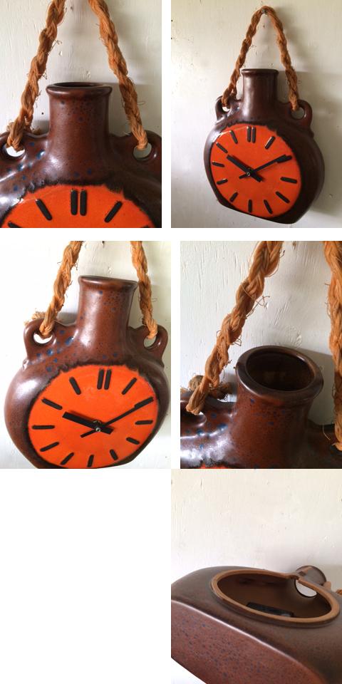 ドイツ70'sヴィンテージ セラミック・クロックfat lava陶器 掛け時計 壁掛け インテリア _画像2