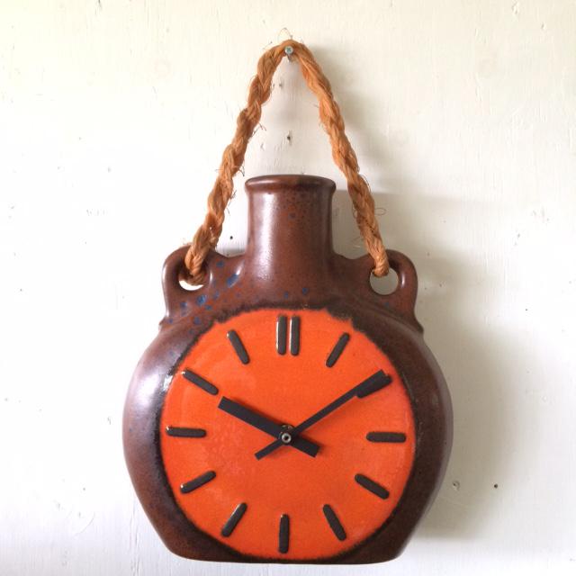 ドイツ70'sヴィンテージ セラミック・クロックfat lava陶器 掛け時計 壁掛け インテリア _画像1