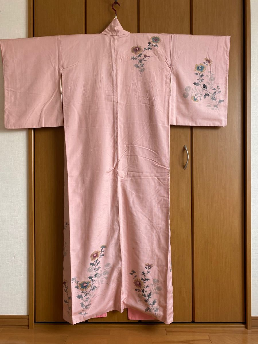 着物 紬 手描き訪問着 正絹 リメイク素材 アンティーク