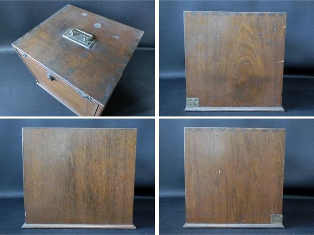 【近】大正時代 歯医者 医療道具箱 小引出 往診鞄 木箱 小物入れ ドクターズバッグ_画像8