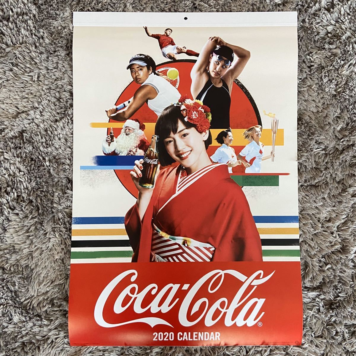 Coca-Cola★コカコーラ★2020年★令和2年★壁掛けカレンダー★綾瀬はるか★スポーツ選手★縦54cm×横36.5cm★未使用・オリンピック_画像1