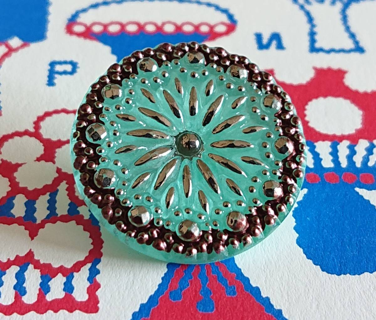 チェコ ガラスボタン27mm クリアターコイズブルー×シルバー/太陽と星の様なボタン コレクション・ハンドメイドに_画像3