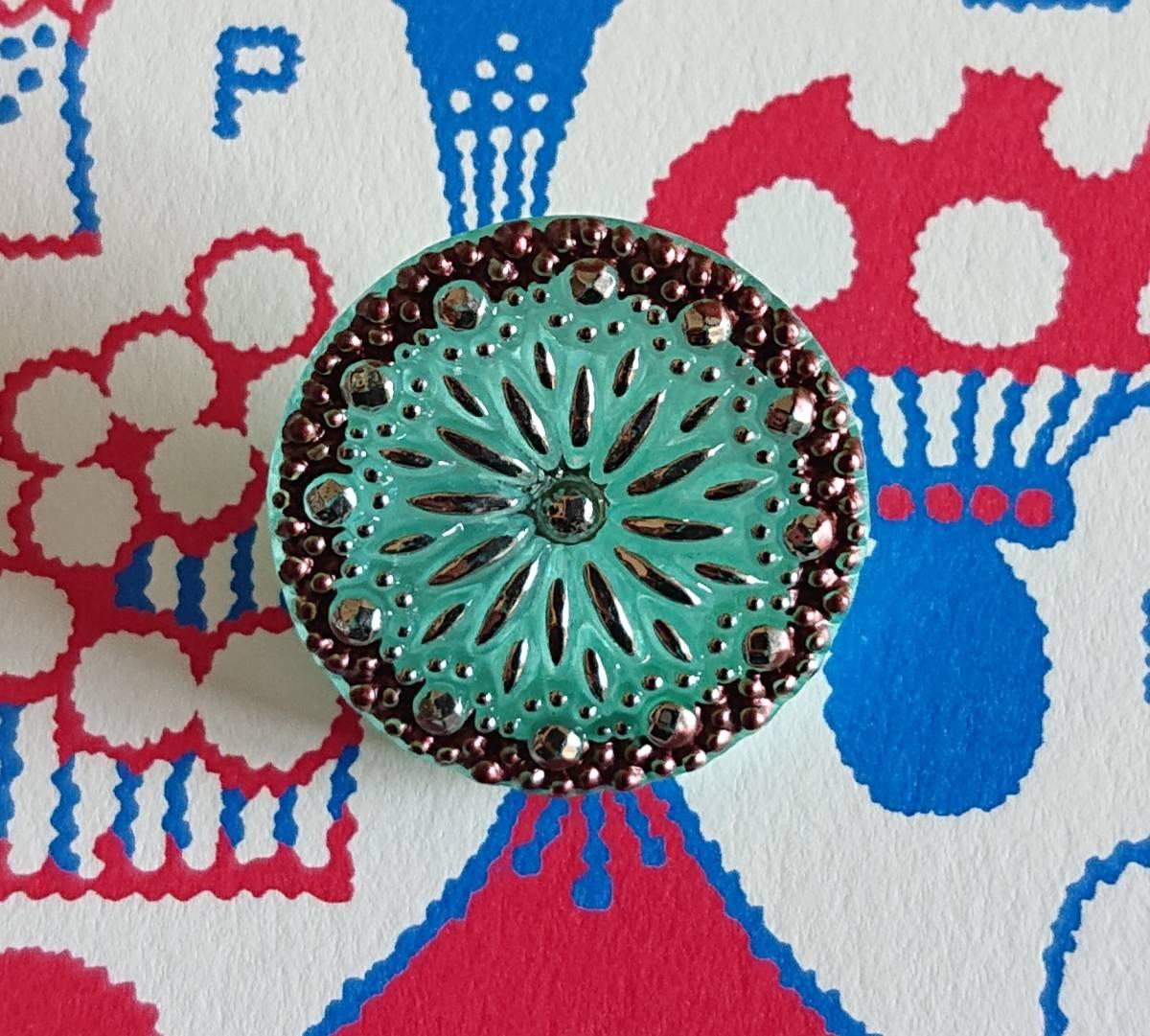 チェコ ガラスボタン27mm クリアターコイズブルー×シルバー/太陽と星の様なボタン コレクション・ハンドメイドに_画像4