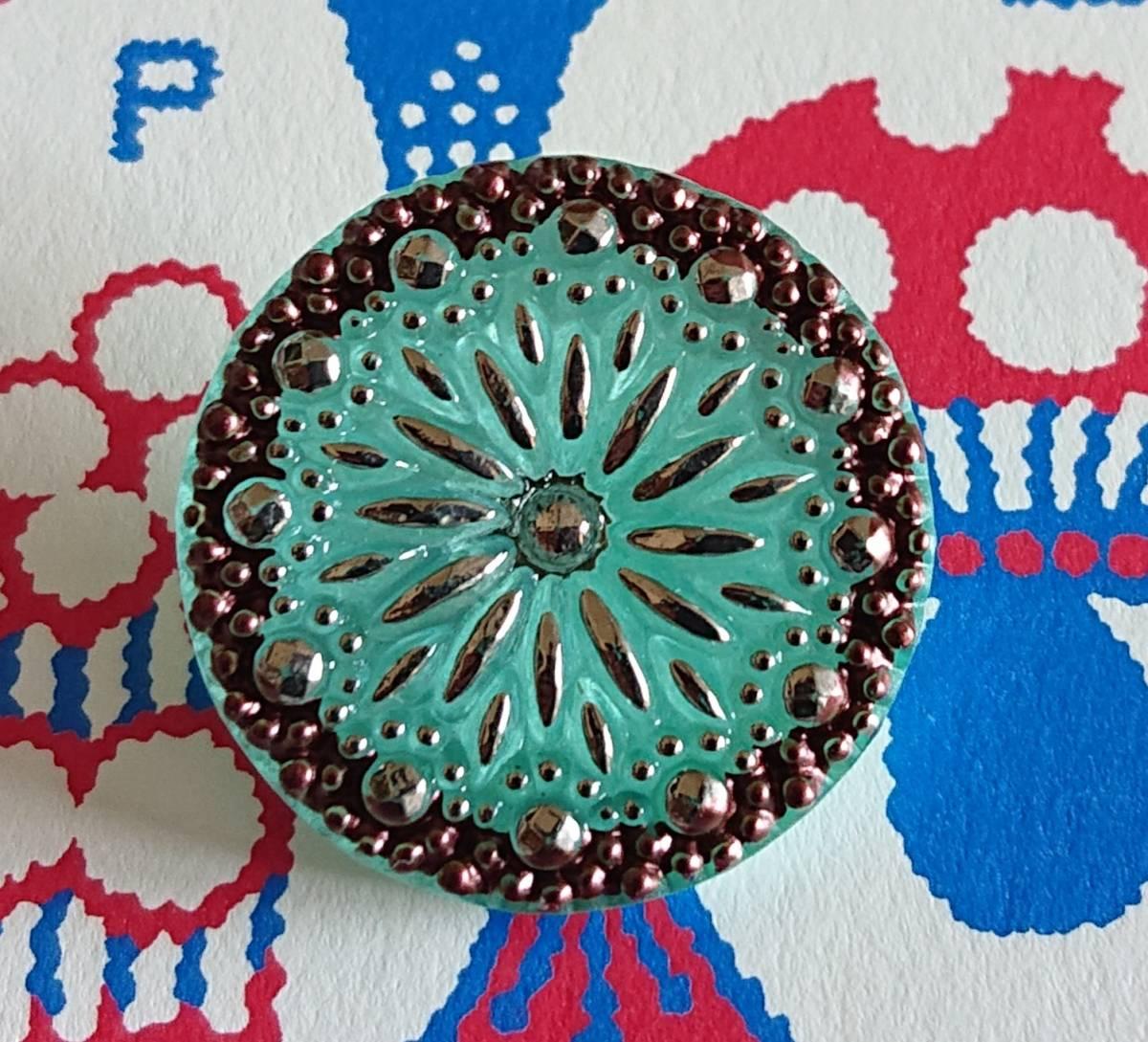 チェコ ガラスボタン27mm クリアターコイズブルー×シルバー/太陽と星の様なボタン コレクション・ハンドメイドに_画像2