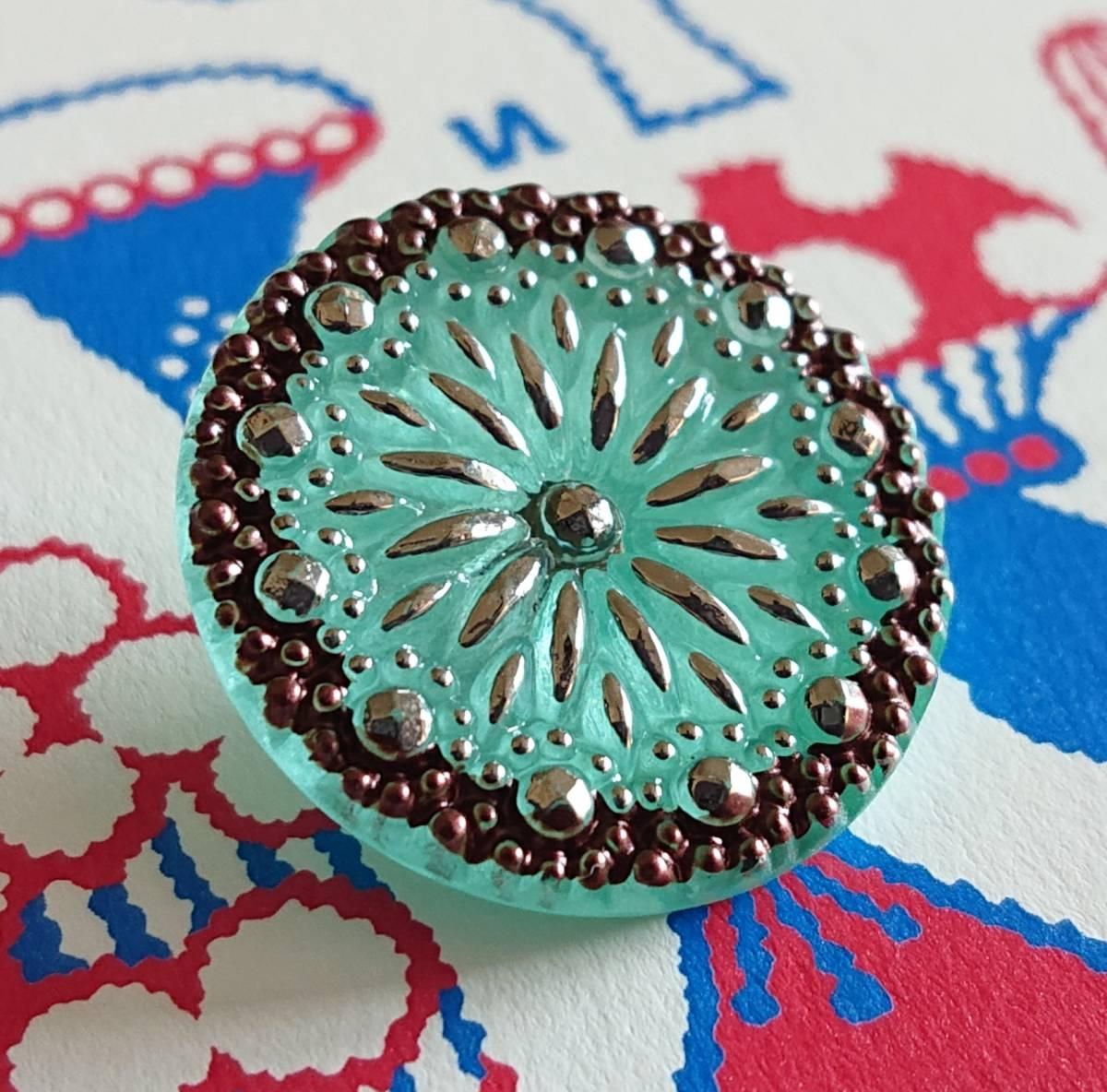 チェコ ガラスボタン27mm クリアターコイズブルー×シルバー/太陽と星の様なボタン コレクション・ハンドメイドに_画像1