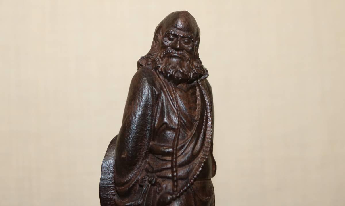 仏像 唐木紅木 達磨大師東渡像 20㎝    AT14