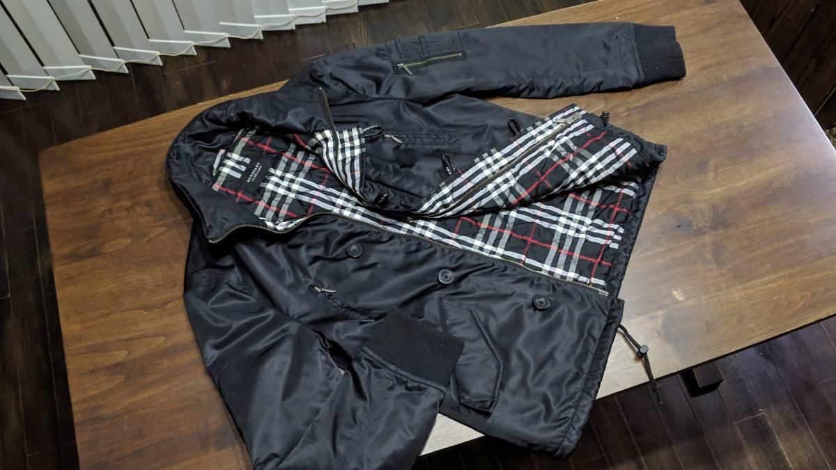 希少 即完 バーバリーブラックレーベル MA-1 風 ジャケット アウター ブルゾン 黒 zip チェック柄 トップス 快適 M_画像1