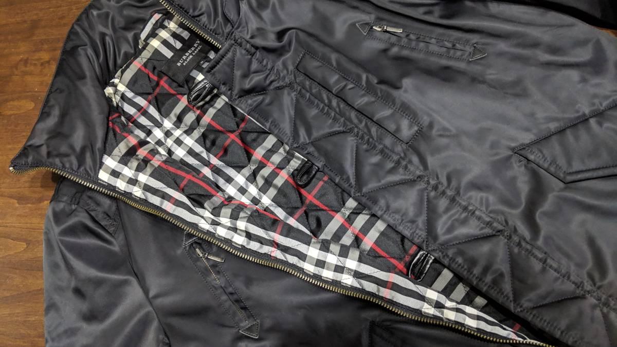 希少 即完 バーバリーブラックレーベル MA-1 風 ジャケット アウター ブルゾン 黒 zip チェック柄 トップス 快適 M_画像4
