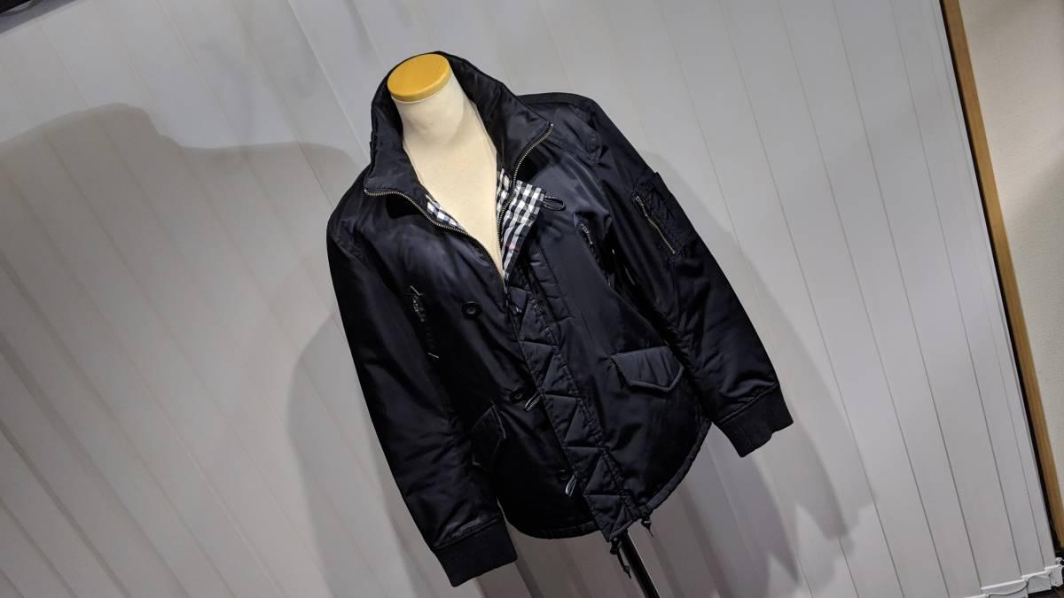 希少 即完 バーバリーブラックレーベル MA-1 風 ジャケット アウター ブルゾン 黒 zip チェック柄 トップス 快適 M_画像6
