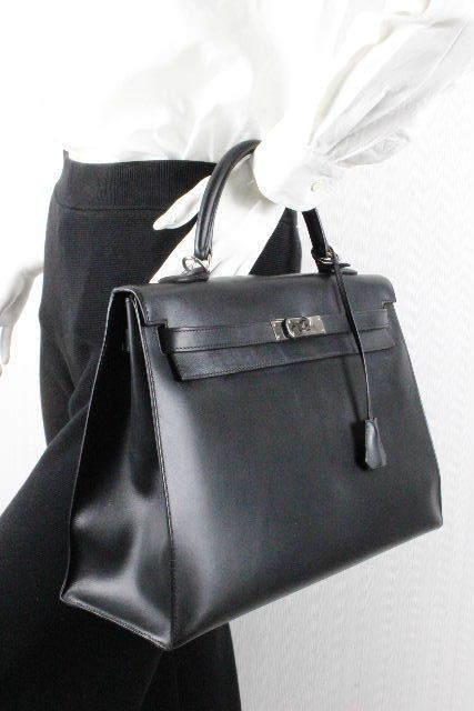 エルメス ケリー35 ボックスカーフ ブラック シルバー金具 外縫い[□G刻] レディース ハンドバッグ ショルダーバッグ ケリー 黒 E2A-42