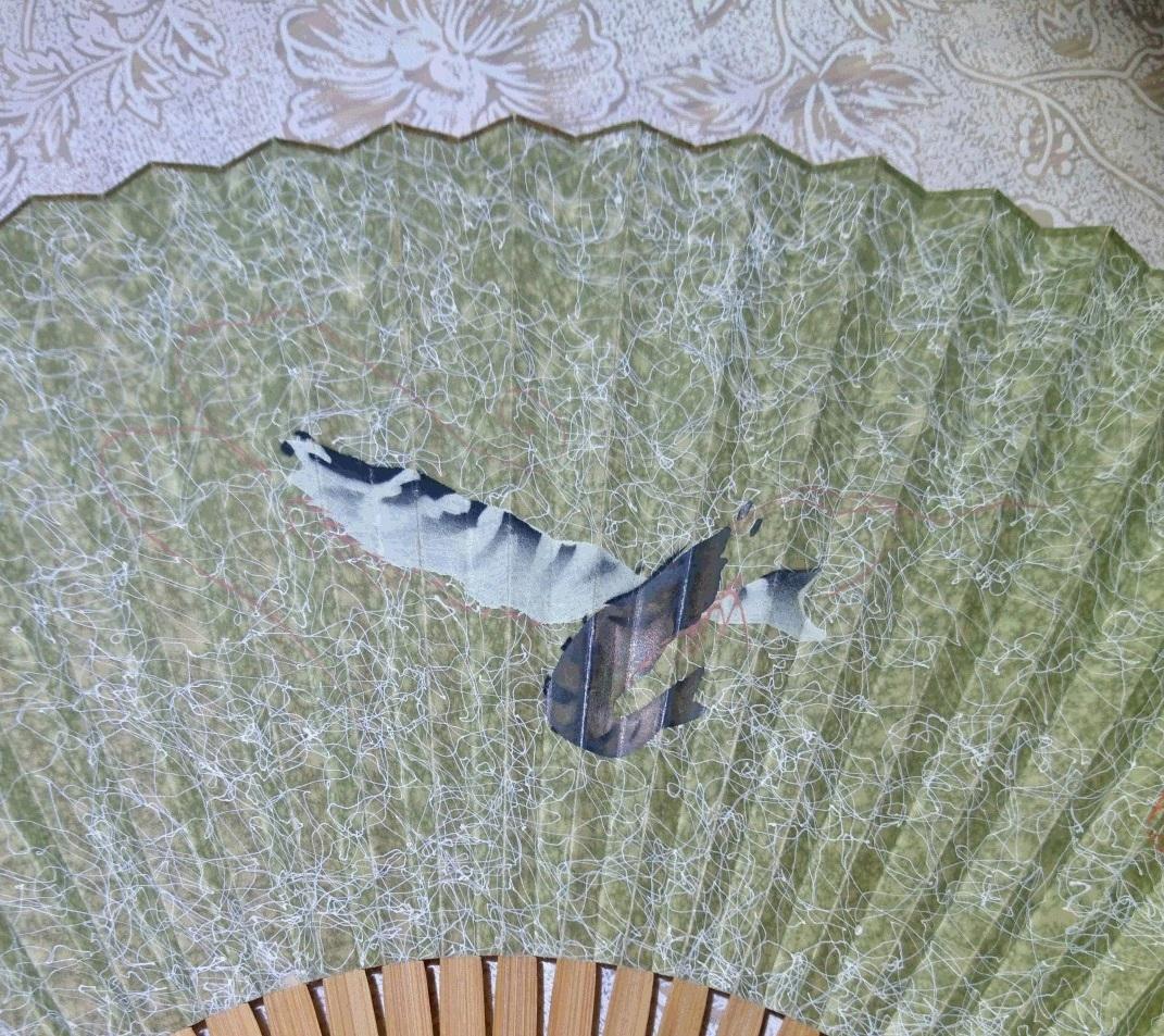 扇子 海老 縁起物 / 飾扇 和装小物 将棋 囲碁 棋士 日本舞踊 茶道 書道 着物 ファッション 和風 レトロ so15_画像2