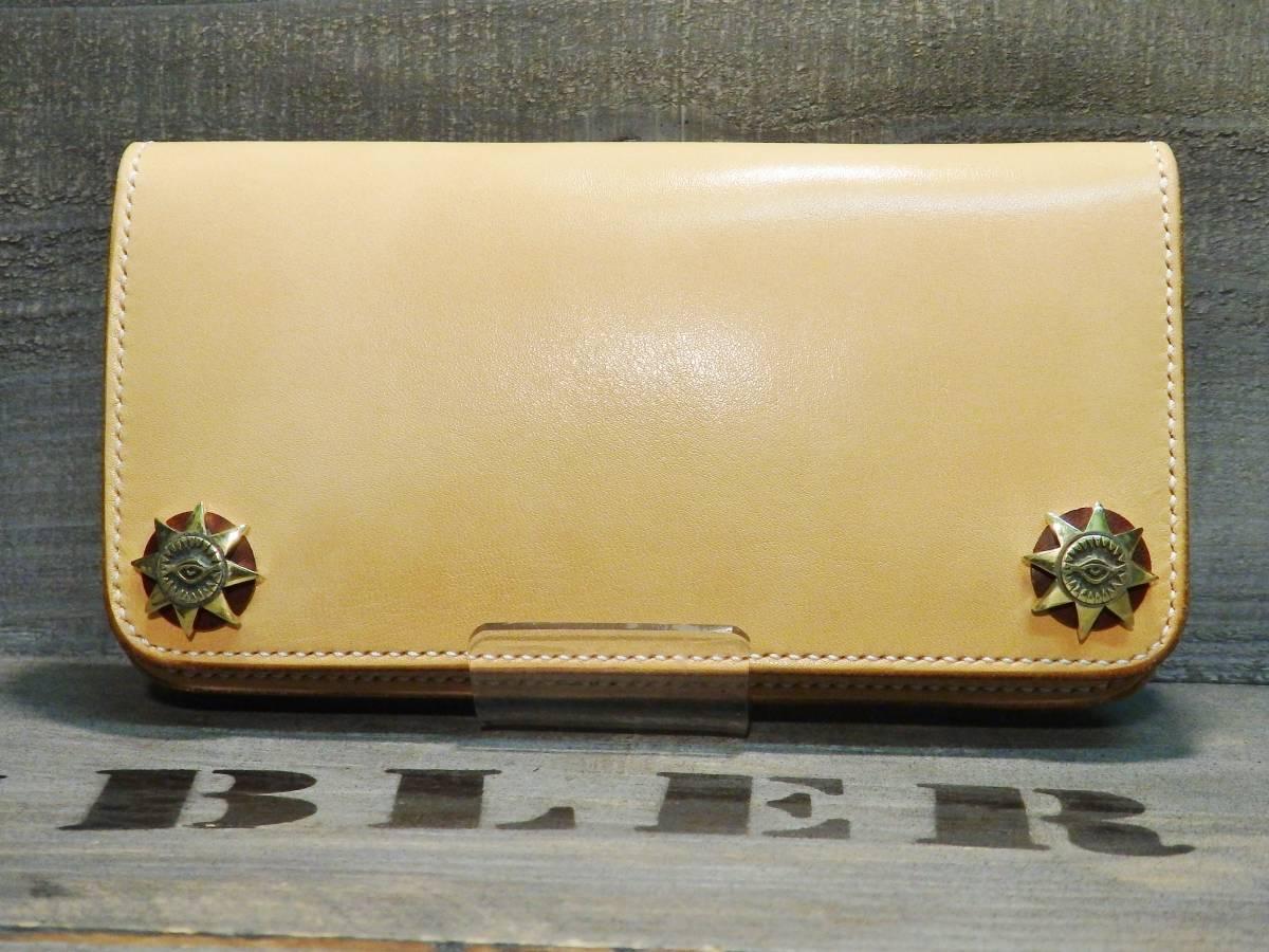 ウォレット サドルレザー ロングウォレット 革財布 長財布 万能の目 真鍮 手縫い レザークラフト エイトポイントスター 新品未使用 即決_画像1