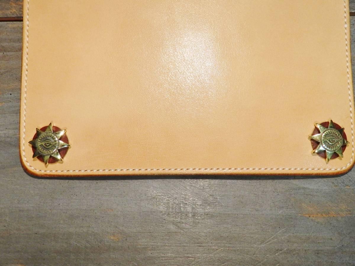 ウォレット サドルレザー ロングウォレット 革財布 長財布 万能の目 真鍮 手縫い レザークラフト エイトポイントスター 新品未使用 即決_画像4