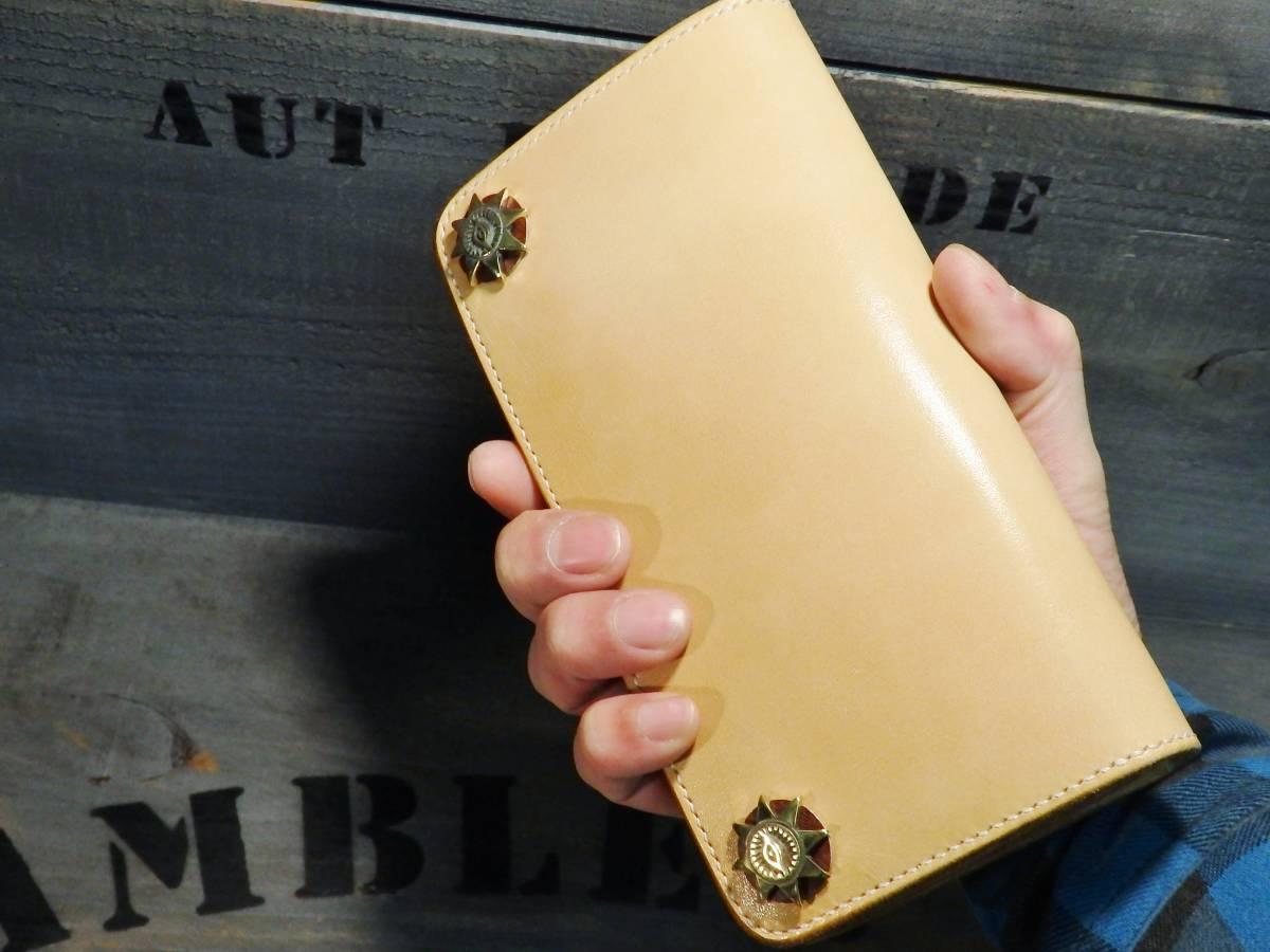 ウォレット サドルレザー ロングウォレット 革財布 長財布 万能の目 真鍮 手縫い レザークラフト エイトポイントスター 新品未使用 即決_画像10