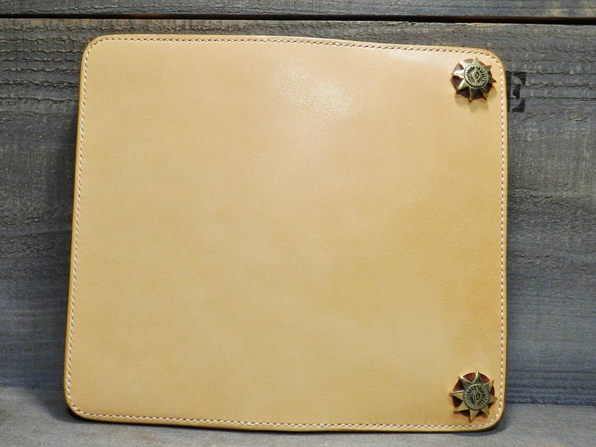 ウォレット サドルレザー ロングウォレット 革財布 長財布 万能の目 真鍮 手縫い レザークラフト エイトポイントスター 新品未使用 即決_画像2