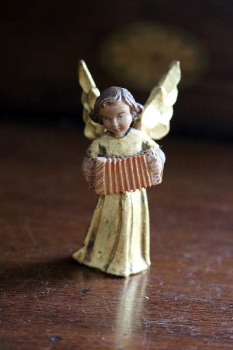■ アンリ工房/ANRI、木彫ミュージックエンジェル/天使・アコーディオン ■_画像1