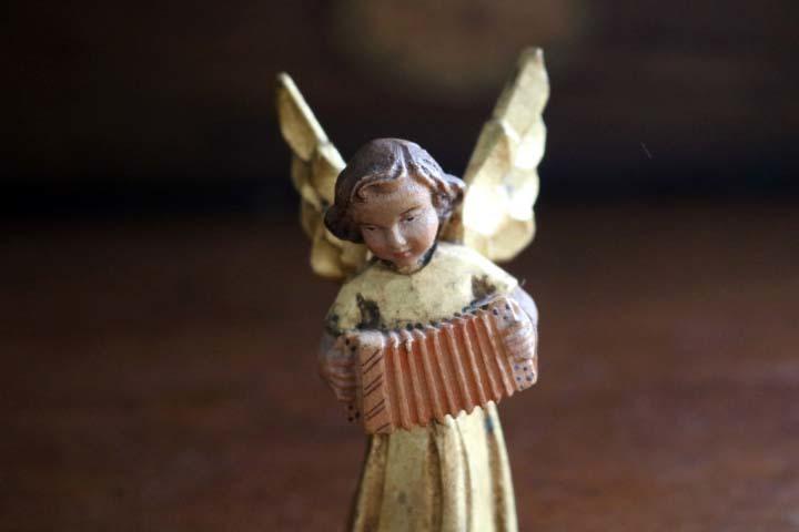 ■ アンリ工房/ANRI、木彫ミュージックエンジェル/天使・アコーディオン ■_画像2