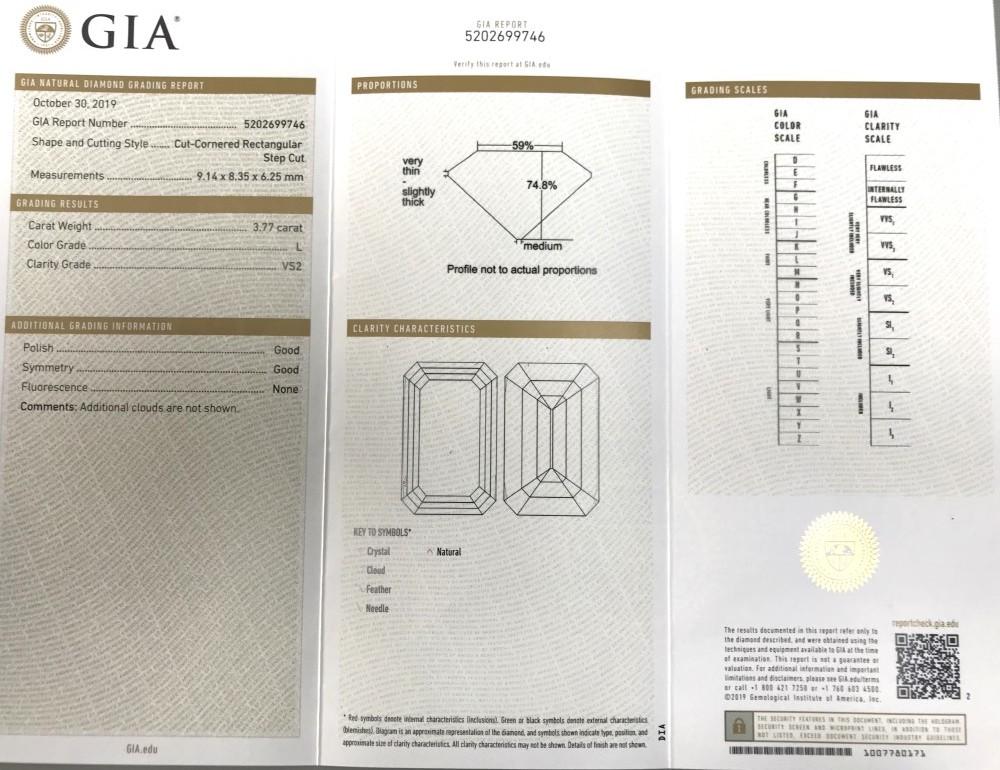 ◆GIA鑑定書付◆豪華◆《3.77ct ステップカット ダイヤモンド》【プラチナ】《婚約 指輪 エンゲージメント リング》_画像10