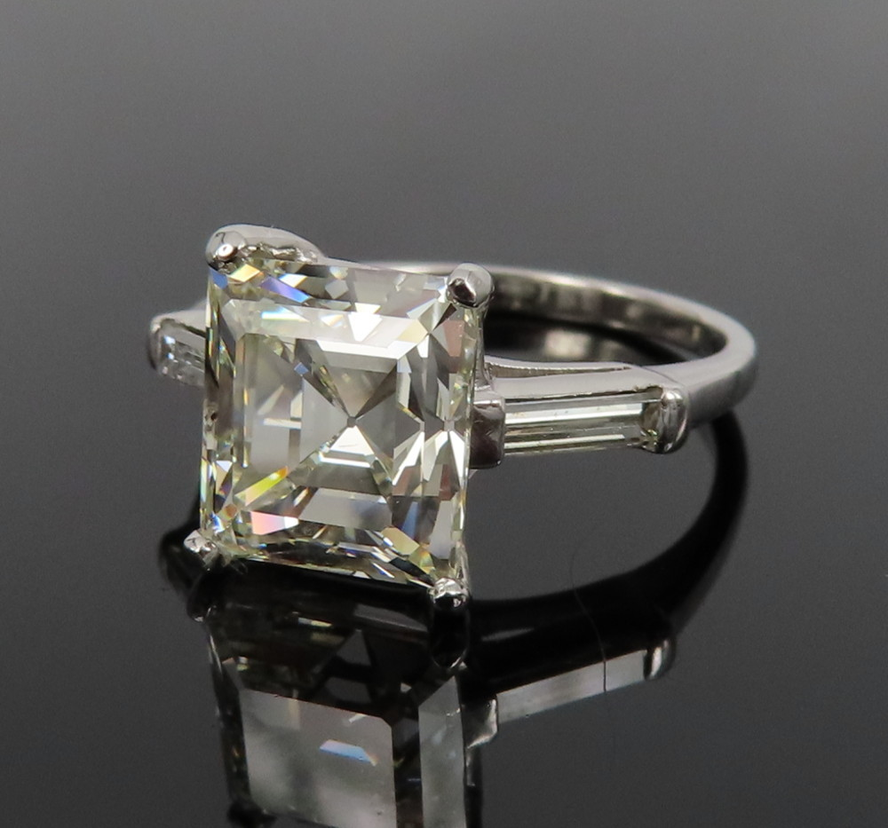 ◆GIA鑑定書付◆豪華◆《3.77ct ステップカット ダイヤモンド》【プラチナ】《婚約 指輪 エンゲージメント リング》_画像3