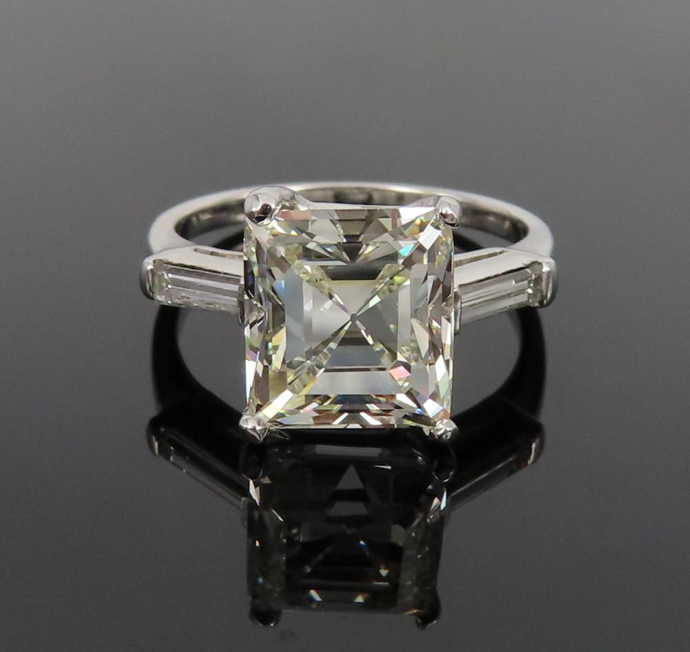 ◆GIA鑑定書付◆豪華◆《3.77ct ステップカット ダイヤモンド》【プラチナ】《婚約 指輪 エンゲージメント リング》_画像1