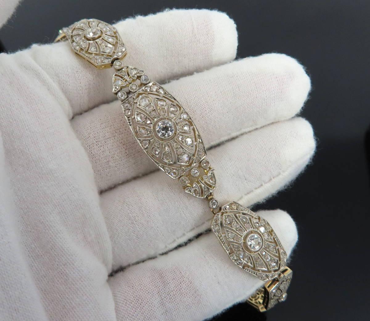 ◆大変貴重◆アンティーク◆《3.50ct オールドマイン&ローズ ダイヤモンド》【プラチナ&ゴールド】《ブレスレット ネックレス》_画像9