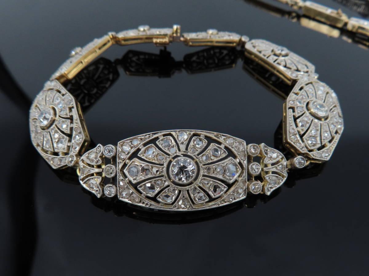 ◆大変貴重◆アンティーク◆《3.50ct オールドマイン&ローズ ダイヤモンド》【プラチナ&ゴールド】《ブレスレット ネックレス》_画像2