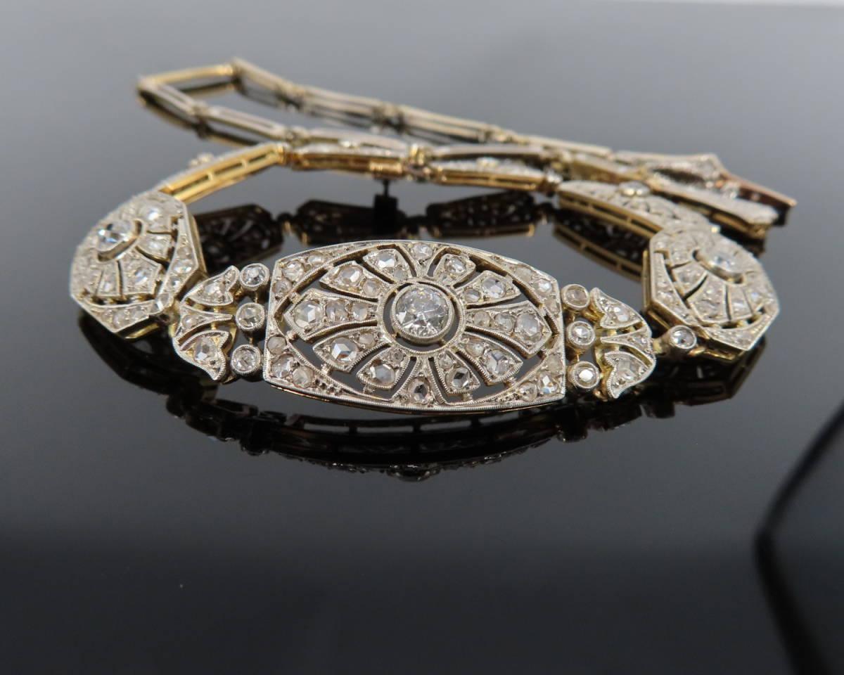 ◆大変貴重◆アンティーク◆《3.50ct オールドマイン&ローズ ダイヤモンド》【プラチナ&ゴールド】《ブレスレット ネックレス》_画像4