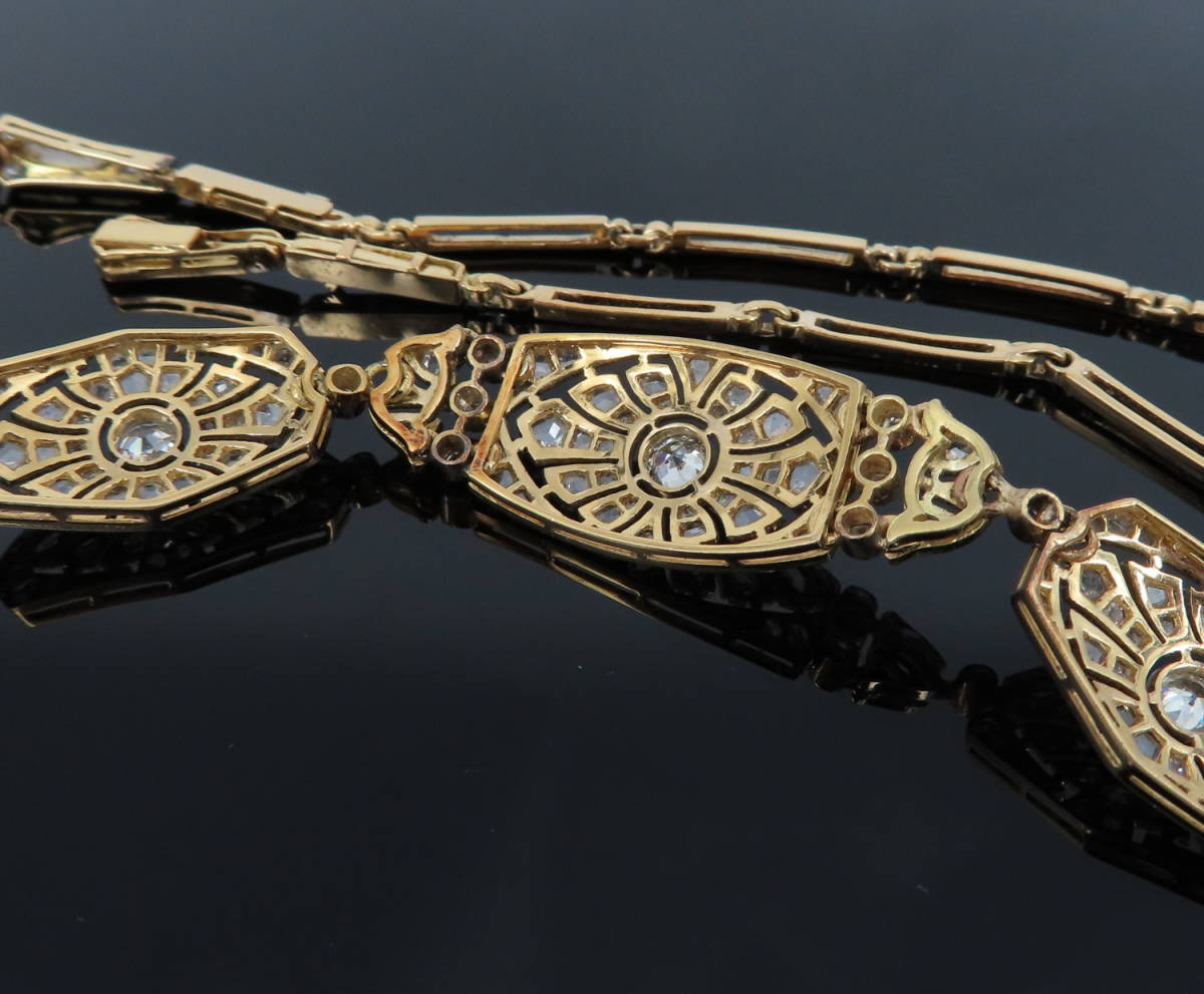 ◆大変貴重◆アンティーク◆《3.50ct オールドマイン&ローズ ダイヤモンド》【プラチナ&ゴールド】《ブレスレット ネックレス》_画像8