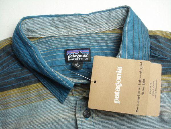 XL程度 新品未使用【PATAGONIA】パタゴニア ネルシャツ オーガニックコットン100% 青ボーダー 春秋物 L_画像4