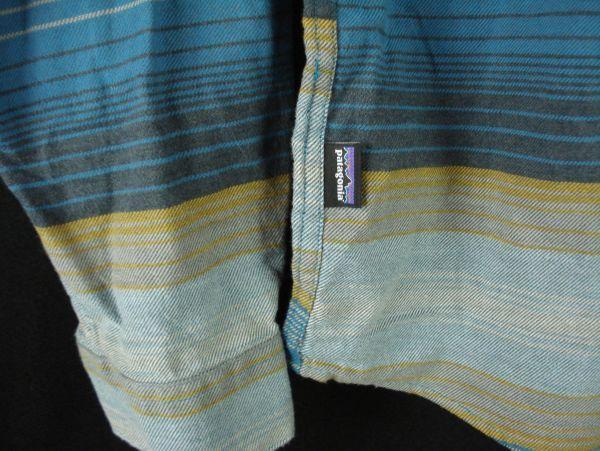 XL程度 新品未使用【PATAGONIA】パタゴニア ネルシャツ オーガニックコットン100% 青ボーダー 春秋物 L_画像3