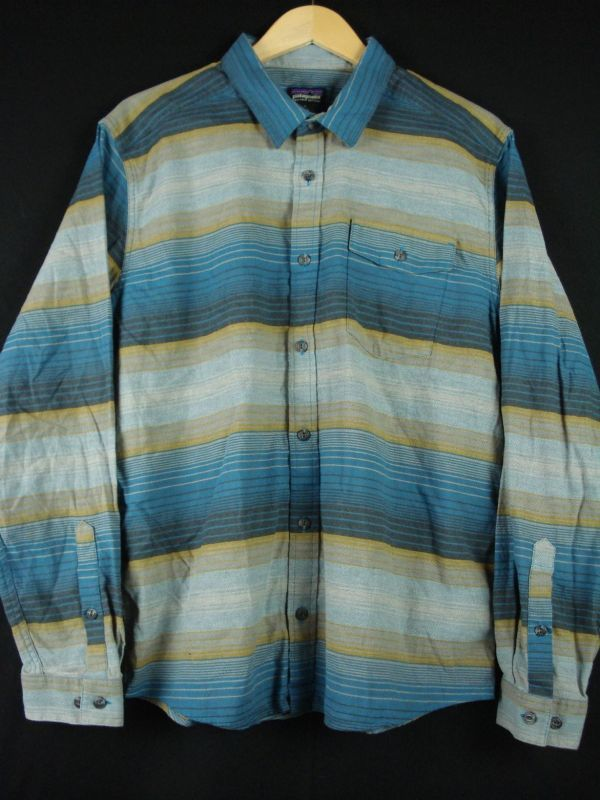XL程度 新品未使用【PATAGONIA】パタゴニア ネルシャツ オーガニックコットン100% 青ボーダー 春秋物 L_画像1