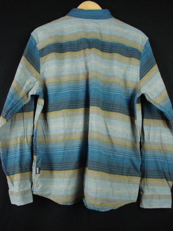 XL程度 新品未使用【PATAGONIA】パタゴニア ネルシャツ オーガニックコットン100% 青ボーダー 春秋物 L_画像2