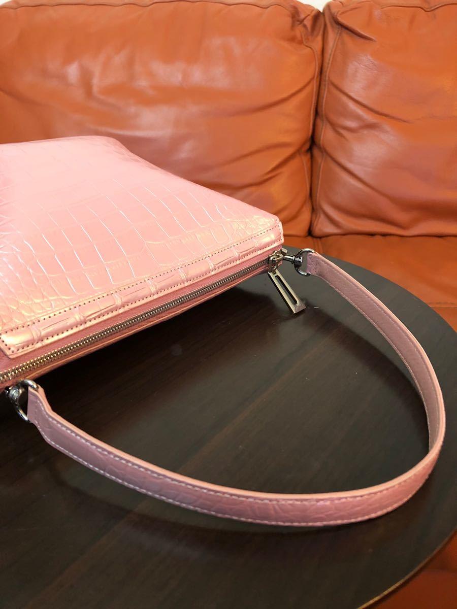 極美品 マットクロコダイル 2wayショルダーバッグ ハンドバッグ ピンク
