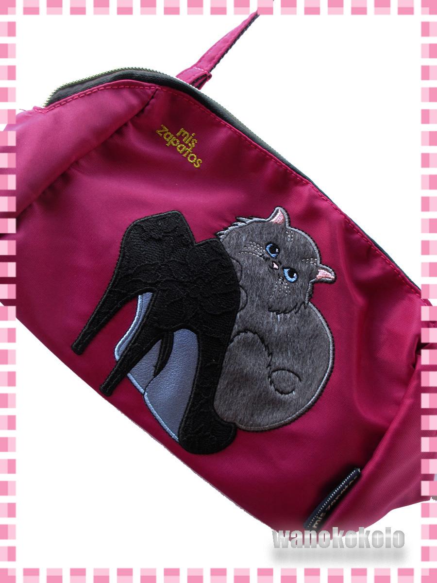 【和の志】パンプスねこミニショルダーバッグ mis zapatos ミスサパト ナイロン素材 ワイン系 B-6875-WI_画像2