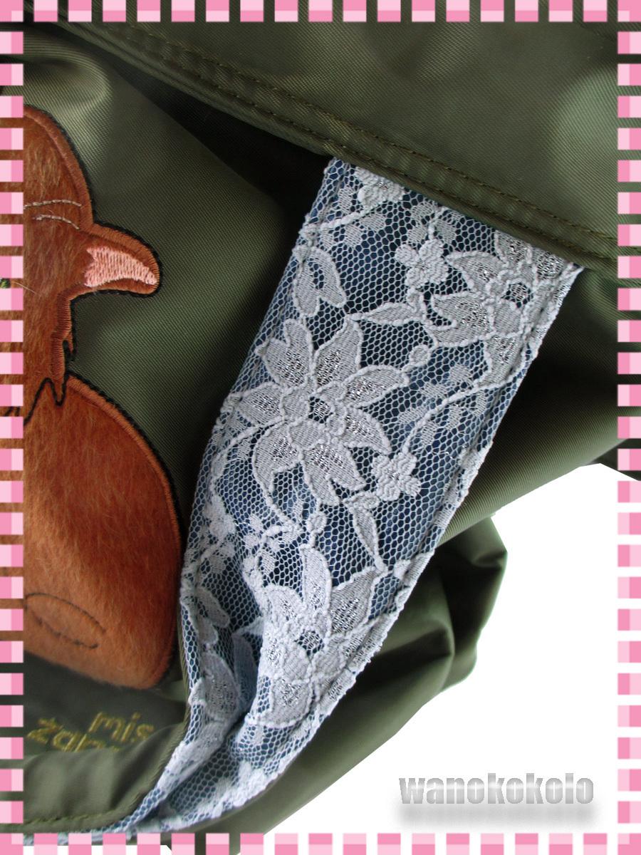 【和の志】パンプスねこ2WAYトートバッグ mis zapatos ミスサパト ナイロン素材 カーキー系 B-6874-KH_画像10