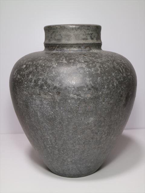 ◆古錫 特大茶壷 30.0cm 約7.0kg ?#20379;gや弥右衛門 斑紋 内金張 特大茶入◆煎茶道具