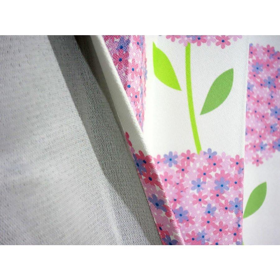 形状記憶 厚地プリント 花柄 2級 遮光カーテン2枚組 幅100×丈200cm Hortancia-100-200PI ユニベール_裏面画像