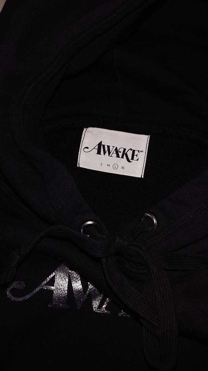 美品 正規品◆Large◆18SS Awake NY Metallic Foil Logo Hoodie Black 黒 L◆girls dont cry sup carhartt wip_画像4
