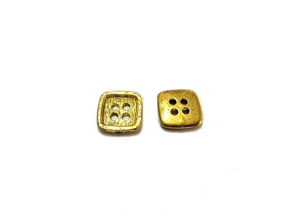 送料無料 手芸 素材 ファッション 材料 約11.5mm 対角線の長さ ゴ-ルド色 四角 4つ穴 メタル 金属 ボタン 25個入り ms604