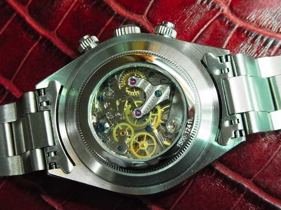 アルファウォッチ クロノグラフ ポールニューマンデイトナデザイン オマージュウォッチ 機械式 ヴィンテージ 腕時計 No4_画像2