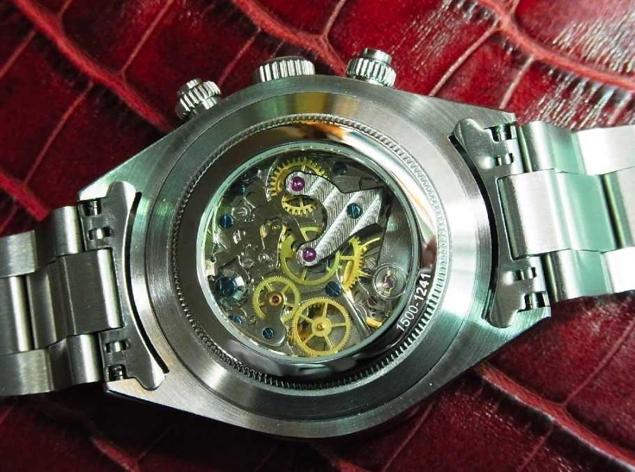 アルファウォッチ クロノグラフ ポールニューマンデイトナデザイン オマージュウォッチ 機械式 ヴィンテージ 腕時計 No3_画像4