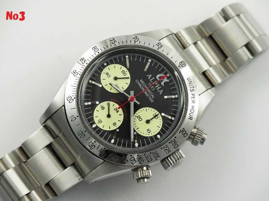 アルファウォッチ クロノグラフ ポールニューマンデイトナデザイン オマージュウォッチ 機械式 ヴィンテージ 腕時計 No3_画像1