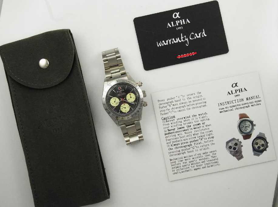 アルファウォッチ クロノグラフ ポールニューマンデイトナデザイン オマージュウォッチ 機械式 ヴィンテージ 腕時計 No3_画像6