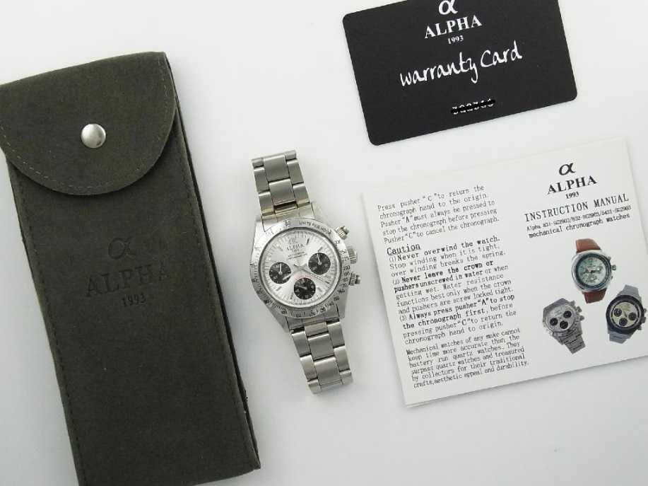アルファウォッチ クロノグラフ ポールニューマンデイトナデザイン オマージュウォッチ 機械式 ヴィンテージ 腕時計 No4_画像4