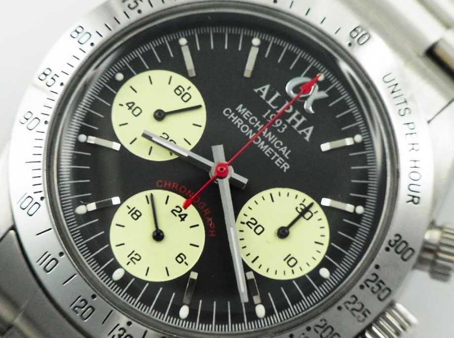 アルファウォッチ クロノグラフ ポールニューマンデイトナデザイン オマージュウォッチ 機械式 ヴィンテージ 腕時計 No3_画像2