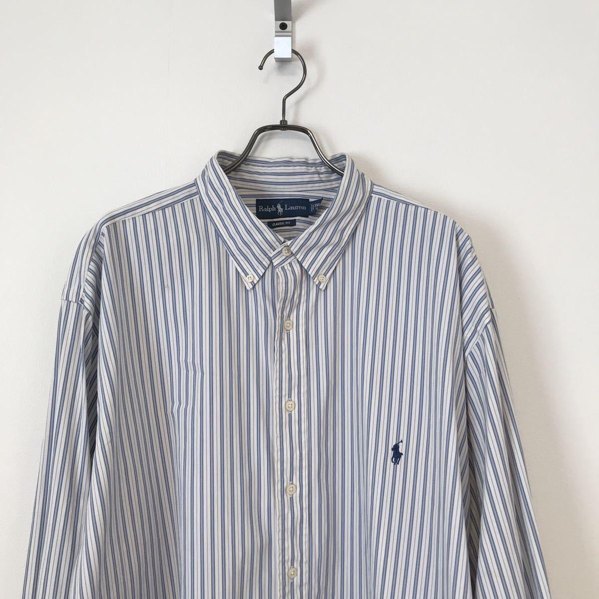 ⑥ Ralph Lauren ラルフローレン シャツ 長袖シャツ ボタンダウンシャツ クラシックフィット 3XLT TALL 白 ストライプ ビッグサイズ