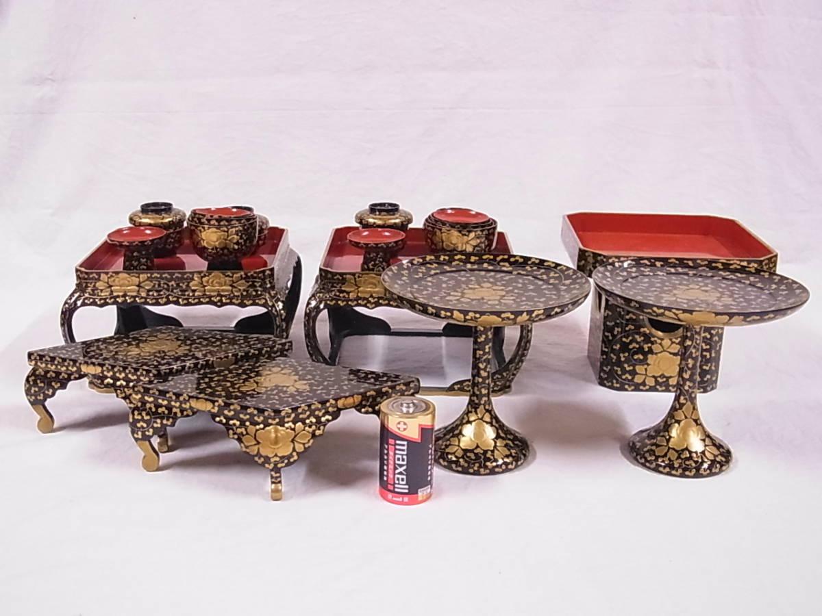 極上大型時代雛道具 戦前木製 三宝 高杯 お膳 菱台/お雛様雛祭り雛人形節句飾り日本人形市松人形
