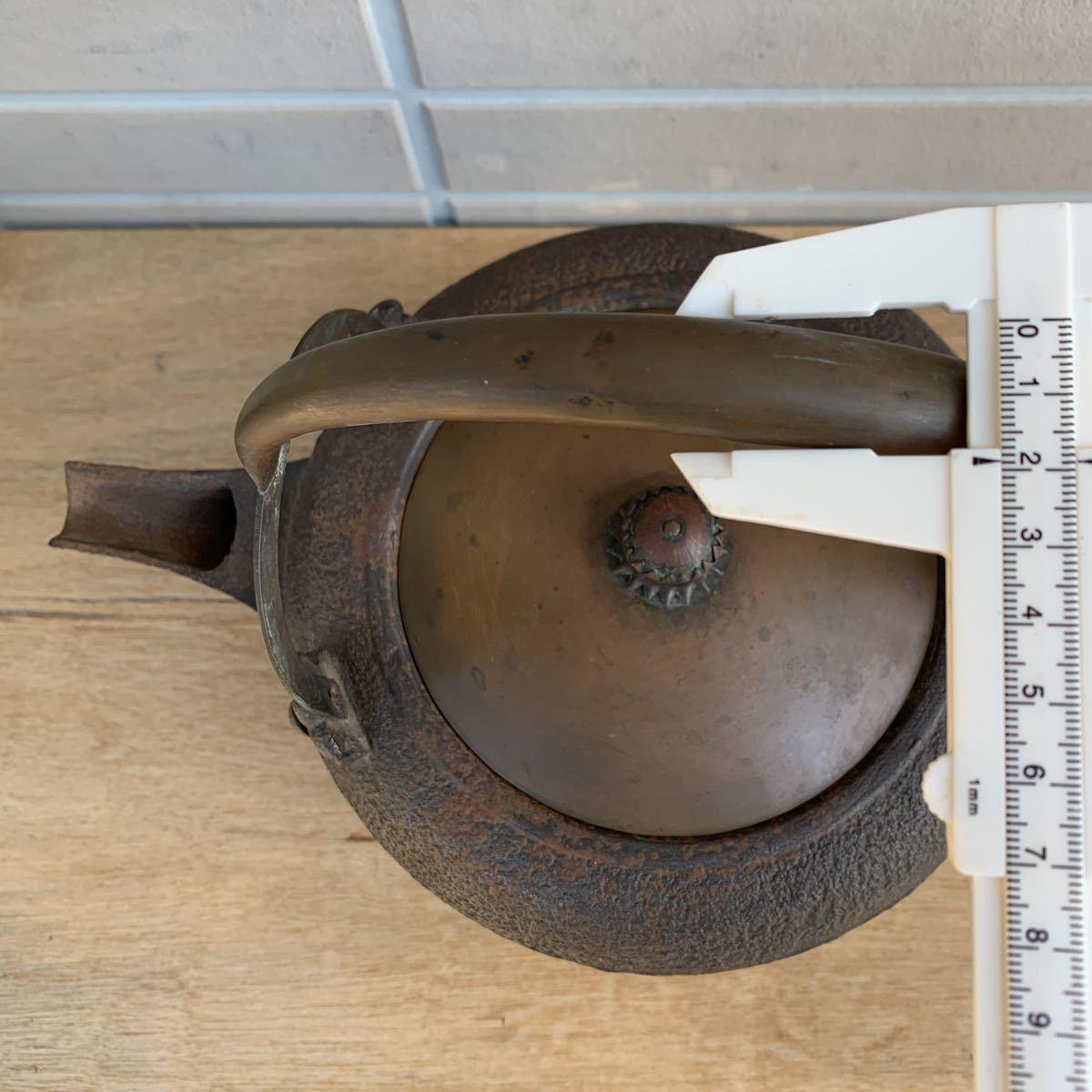 鉄瓶 松図 竹図 梅図 横約27cm 高さ約28cm 蓋唐金(大きさ13.2cm)煎茶道具_画像4