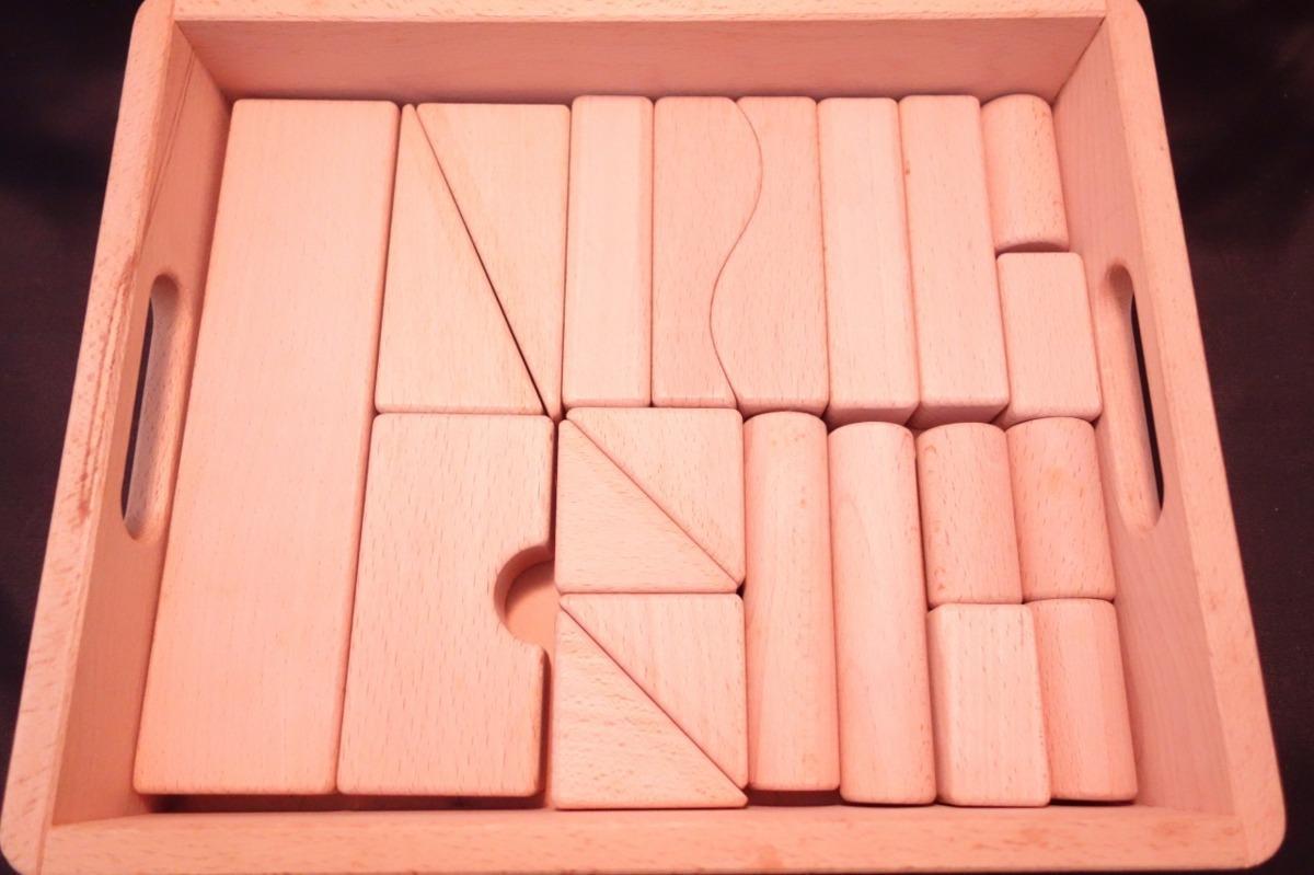 ■【メーカー不明】/知育玩具 天然木つみき/積み木[ベージュ]《中古△》Z1_画像3